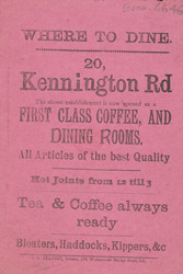 Advert For A Restaurant On Kennington Road